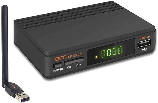 GT Media V7S HD DVB-S2 El Receptor de TV Satelital Incluye USB WiFi Incorporado FTA 1080P Full HD Compatible con CC Am, Newcam, PVR, Youtube, PowerVu, Dre y Biss Clave: Amazon.es: Electrónica