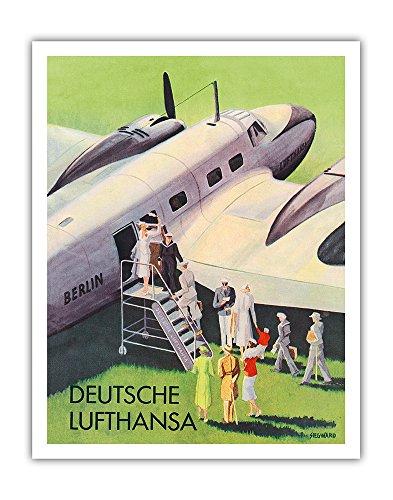 Pacifica Island Art Berlin - German (Deutsche) Lufthansa Airlines - Vintage Airline Travel Poster by Siegward c.1937 - Fine Art Print - 11in x 14in