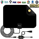 tv antenna - [2018 Upgraded] HDTV Antenna - Digital Amplified HD TV Antenna 50-80 Mile Range 4K HD VHF UHF Freeview Television Local Channels w/Detachable Signal Amplifier 16.5ft Longer Coax Cable