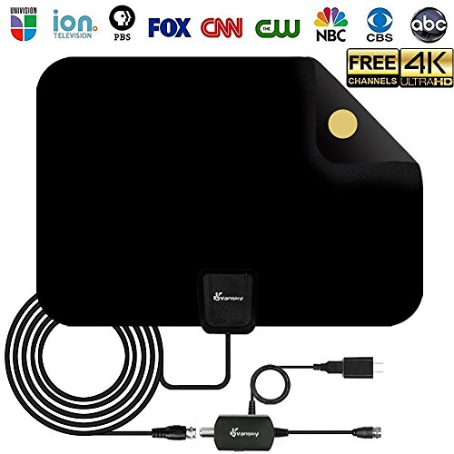 Antenna - Digital Amplified HD TV Antenna 60-80 Mile Range 4K HD VHF UHF Freeview Television Local Channels w/Detachable Signal Amplifier and 16.5ft Longer Coax Cable ()