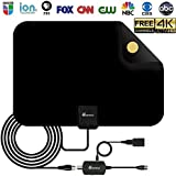 【2018 UPGRADED】 HD Digital TV Antenna - Amplified HDTV Antenna 50-80 Mile Range 4K HD VHF UHF Freeview Television Local Channels w/Detachable Signal Amplifier and 16.5ft Longer Coax Cable