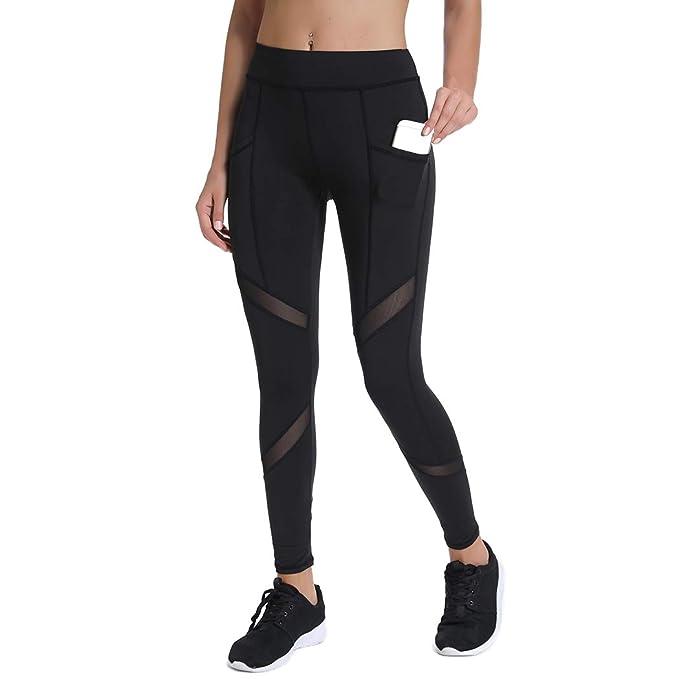 790c721cad69c Amazon.com: Joyshaper High Waisted Workout Leggings for Women with Pockets  Mesh Capri Yoga Pants Gym Athletic Tights: Clothing