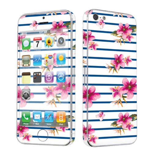 Apple iPhone 5 Full Body Vinyl Decal Protection Sticker Skin Navy Stripe Pink Floral By Skinguardz