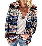 HAPCOPE Women's Rainbow Striped Long Sleeve Open Front Knit Cardigan Sweaters Outwear S-3XL