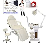2 in 1 steamer and mag lamp - LCL Beauty 11 in 1 Multifunction Facial Machine & Fully Adjustable Hydraulic Bed Chair Package
