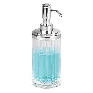 InterDesign Alston Dispensador de jabón líquido para manos, dosificador de jabón recargable de plástico, transparente/plateado: Amazon.es: Hogar