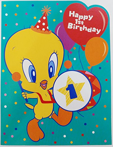 (Happy 1st Birthday Tweety Bird Looney Tunes Greeting Card - First One Year Old)