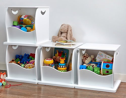 4 x Stacking Open Toy Storage Trunks Store