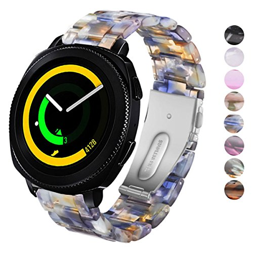 DELELE Watchband for Samsung Gear Sport/Gear S2 Classic/Galaxy Watch 42mm, 20mm Colorful Resin Replacement Strap with Steel Buckle for Samsung Gear Sport/Galaxy Watch 42mm Women Men (Ice Blue)