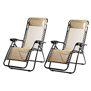 Apontus Zero Gravity Reclining Lounge Chair, Set Of 2 (Beige)
