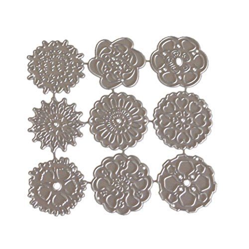 Caopixx Lace Flower DIY Scrapbooking Cutting Dies Metal Stencil Template for Greeting Card Cover Embossing (F)