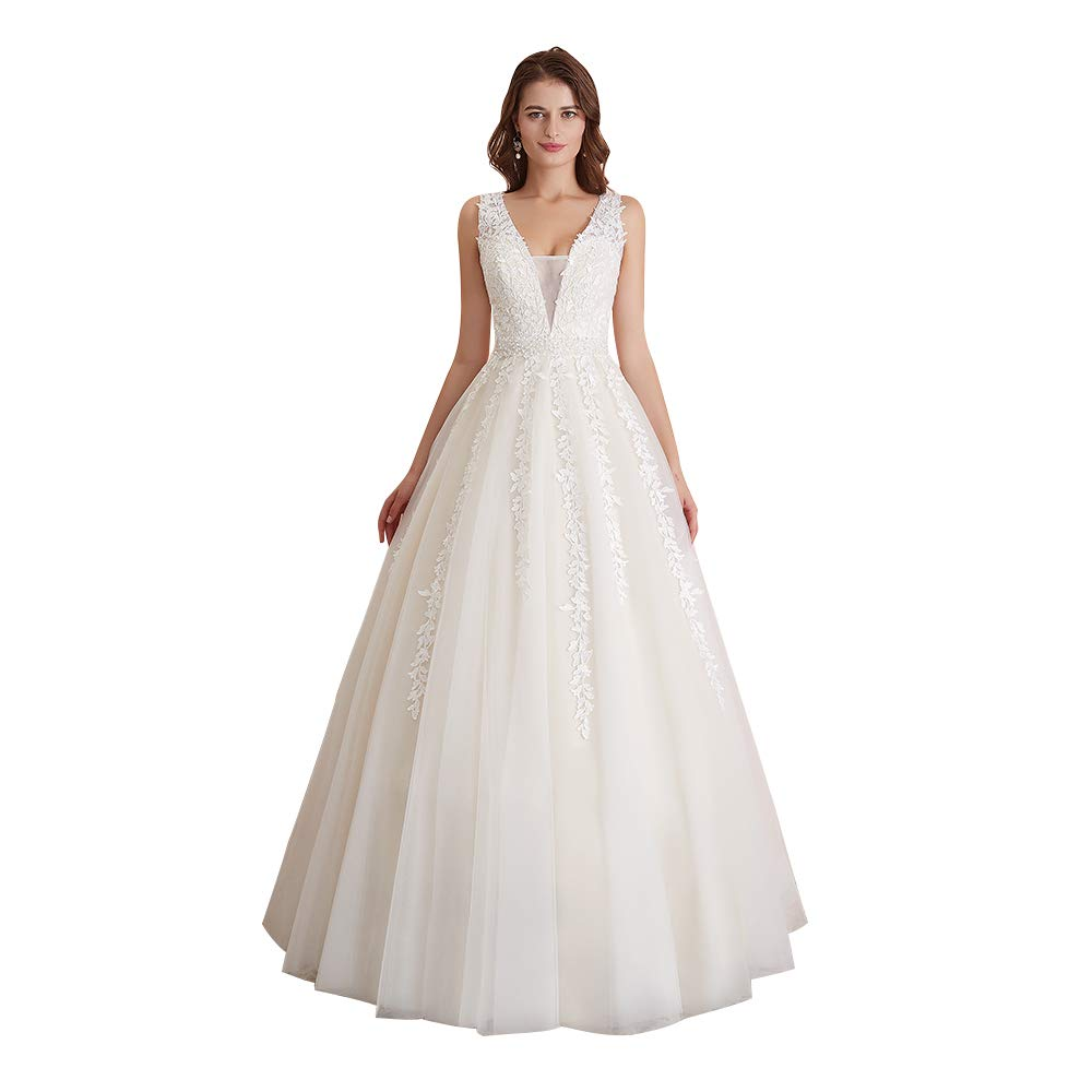 Abaowedding Women S Wedding Dress For Bride Lace Applique Evening Dress V Neck Straps Ball Gowns Ivory Us 20 Plus