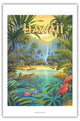 Aloha Hawaii - Vintage Style Hawaiian Travel Poster by Kerne Erickson - Premium 290gsm
