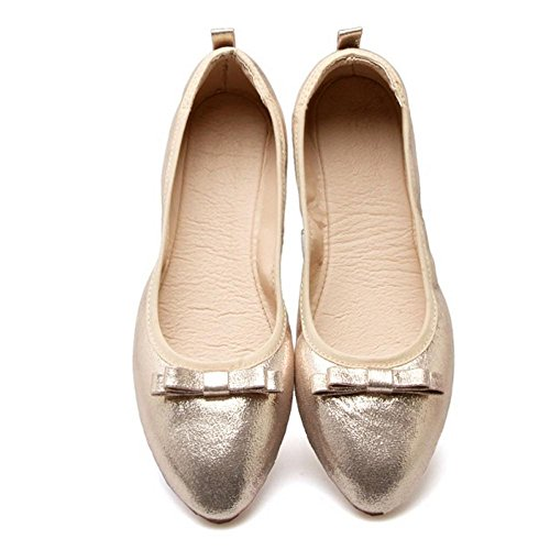 TAOFFEN Women's Comfy Flat Shoes Gold 7NSEW