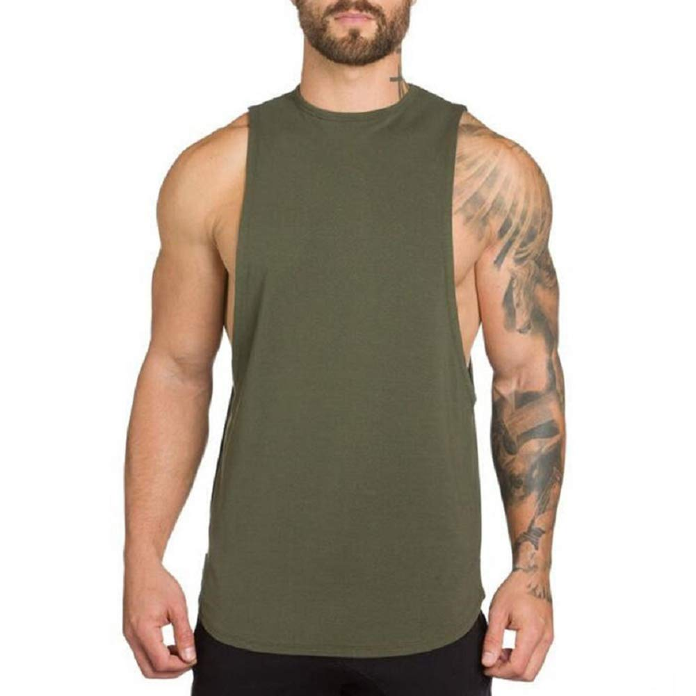 ZUEVI Men's Muscular Cut Open Sides Bodybuilding Tank Top(ZArmy Green-S)