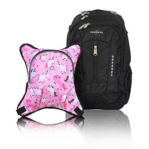 Bern Diaper Backpack, Shoulder Baby Bag, With Food Cooler, Clip to Stroller (Black/Unicorns)