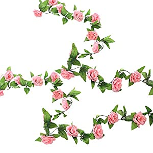 G-Tree 2pcs Artificial Flowers 8.04 FT Fake Plastic Fabric Silk Artificial Rose Flower Wisteria Ivy Hanging Vine Garland for Home Wedding Table Decoration (Dark Pink) 106