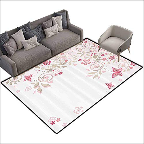 Kids Bedroom Mats Decorative Floral,Curly Branches Wildflowers Butterflies Dots Romantic Bridal Wedding Theme,Pink Cocoa Light Pink 80