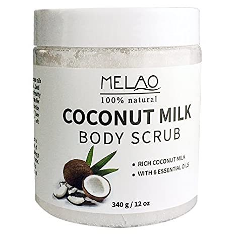 340g 12 oz Exfoliante Corporal 100% Natural Arabica Coconut Milk con sal del Mar Muerto