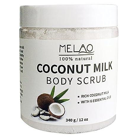 340g 12 oz Exfoliante Corporal 100% Natural Arabica Coconut Milk con sal del Mar Muerto