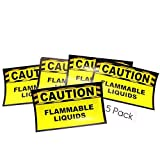 (5) Flammable Liquids Stickers - Caution Safety Stickers - 3 X 5 Vinyl Decal