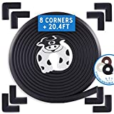 Bebe Earth | Baby Proofing Edge & Corner Guard Protector Set | Safety Bumpers | Child Proof Furniture & Tables | Pre-Taped Bumper Corners [20.4 ft + 8 Corner Guards] Onyx Black