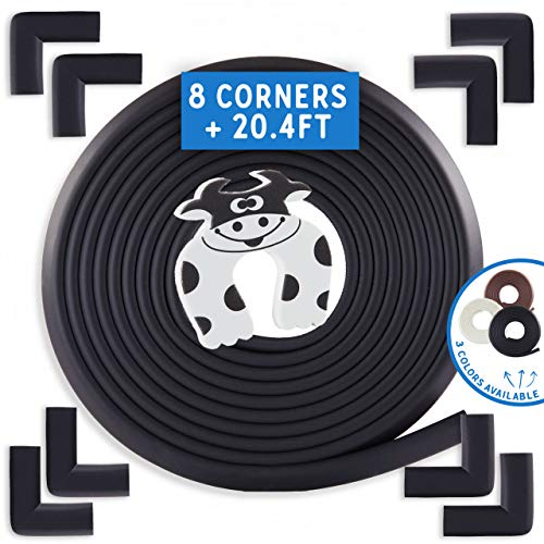 - Bebe Earth | Baby Proofing Edge & Corner Guard Protector Set | Safety Bumpers | Child Proof Furniture & Tables | Pre-Taped Bumper Corners (20.4 ft + 8 Corners, Onyx Black)