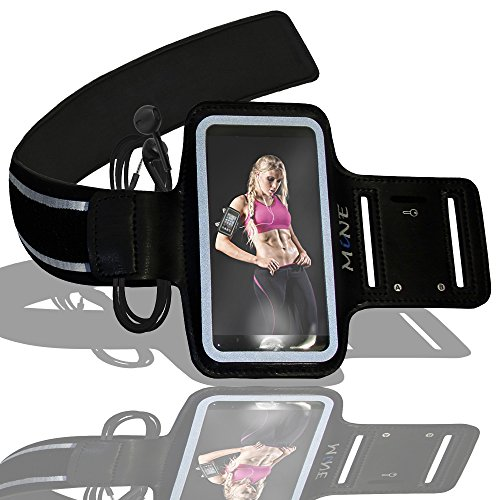 Neoprene Digital Armband - Armband for iPhone 6 Plus by MiNE; Hands Free Apple Accessories Adjustable Sports Running Arm Band for Your Cell Phone + Black Case Smartphone Holder