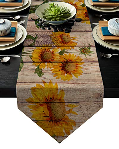 - Linen Burlap Table Runner Dresser Scarves, Sunflower on Rustic Wood Plank Country Theme Kitchen Table Runners for Dinner Holiday Parties, Wedding, Events, Decor - 16 x 72 Inch