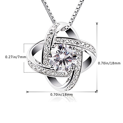 B.Catcher Silver Necklace Womens 925 Silver Cubic Zirconia Pendant Gemini Necklace Mother's Day Gift by B.Catcher (Image #6)