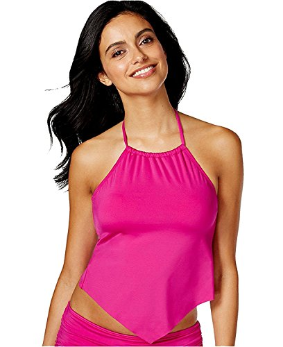 Kenneth Cole Reaction Women's Ruffle Shuffle Hanky Bikini Top (Large, Iris)