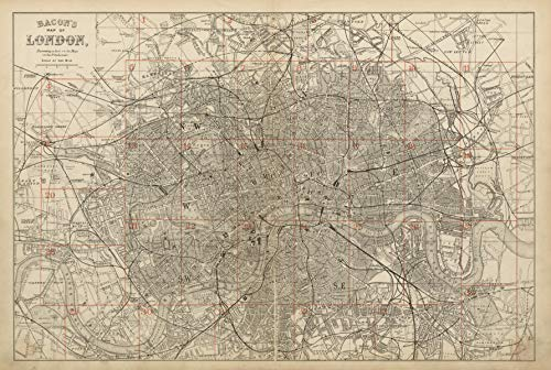 Greater London Environs. General Index map to 9 inch Scale maps. Bacon - c1887 - Old map - Antique map - Vintage map - Printed maps of London