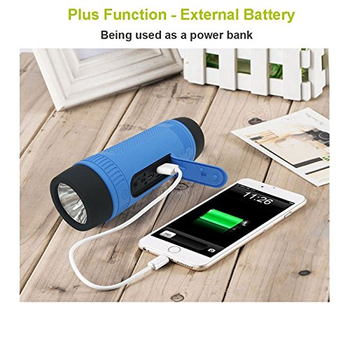 Portable Multifuctional Wireless Bluetooth Speaker 4000mAh Rechargeable Power Bank 3 Mode Emergency Flashlight Handsfree Answering Phone Call TF Card Music Player Mounting Mracket Screw Hole (Blue) by Teastar (Image #4)