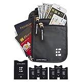 Zero Grid Neck Pouch w/RFID Blocking 2 in 1 Passport Holder & Travel Wallet