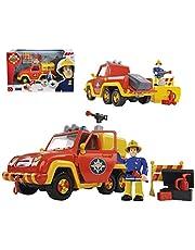 Simba - Brandweerman Sam brandweerauto Venus, met Elvis figuur, met originele geluids- en watersproeifunctie, deuren die open kunnen, 19cm, voor kinderen vanaf 3 jaar