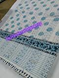 Handicraftofpinkcity Handmade Print Hand Block Print Kantha Bed Cover Cotton Fabric Kantha Quilts Twin Size Bed Sheet Indian Kantha Throw Hand Made Bed Cover 60x90'' Size Geomatric Design Blancket Ssthkq03
