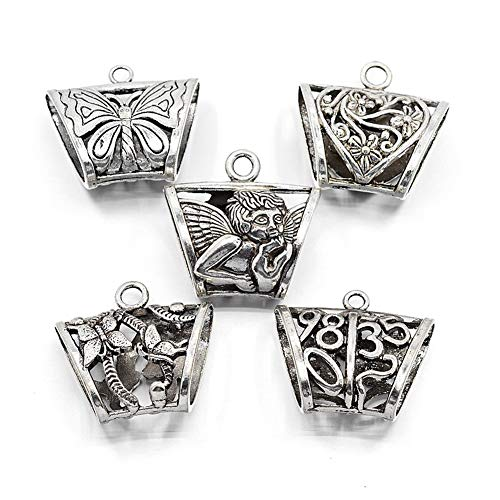 - Pandahall 5pcs 35~40x35~40mm Tibetan Style Filigree Tube Hanger Bail Beads Connectors Antique Silver Vintage Pendant Charm Holders Cadmium Free & Lead Free for Bracelet Jewelry Making