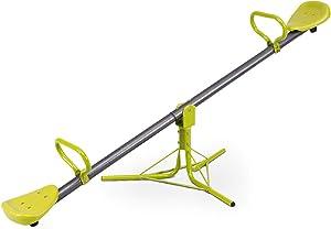 Costzon Kids Seesaw Swivel Teeter Totter Playground Equipment, 360 Degree Rotation (Metal Seesaw) Green