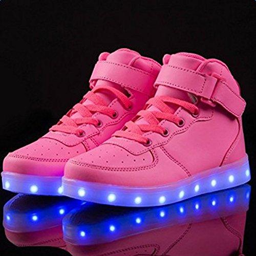 Saguaro (tm) Unisex Ragazzi Ragazze Donna Uomo Alto Top Illuminano Scarpe Led Sneakers Ricaricabili Per Bambini Giorno Rosa Rossa