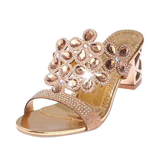 Rhinestone Sandals Bohemia Inkach Fashion Toe Sandals Shoes Slipper Summer Open Heeled Gold Rose Womens Platform X0qXSf