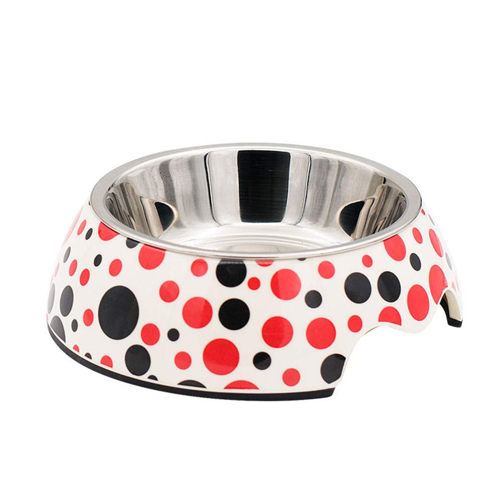 D WU-pet supplies Dog Bowl Stainless Steel Dog Pot Dog Food Bowl Rice Bowl Slip wear Double Bowl pet Bowl, D