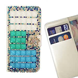 FOR HTC One M9+/ M9 PLUS Clear Bow Bownot Blue Gradient Bling Bling PU Leather Waller Holder Rhinestone - - OBBA