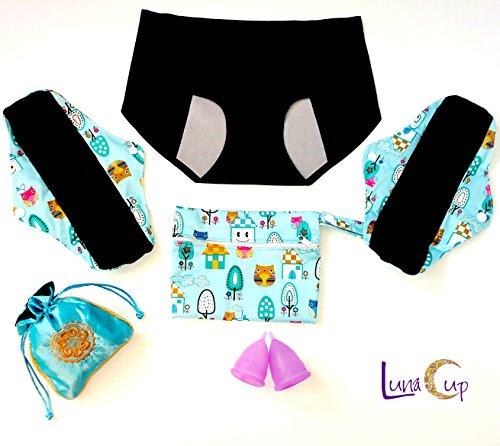 Luna Cup Period Starter Kit - 1 Large 1 Small Period Cup, 2 Bamboo Charcoal Menstruation Pads, 1 Small Wet Bag & 1 Menstrual Panties (7 PCS)