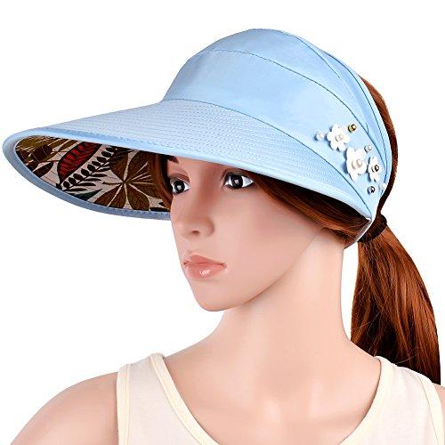 t Foldable Sun Hat Wide Brim Hat Summer Sunproof Hat Empty Top Sunhat, UPF50+ (Blue) (Le Top Sun Hat)