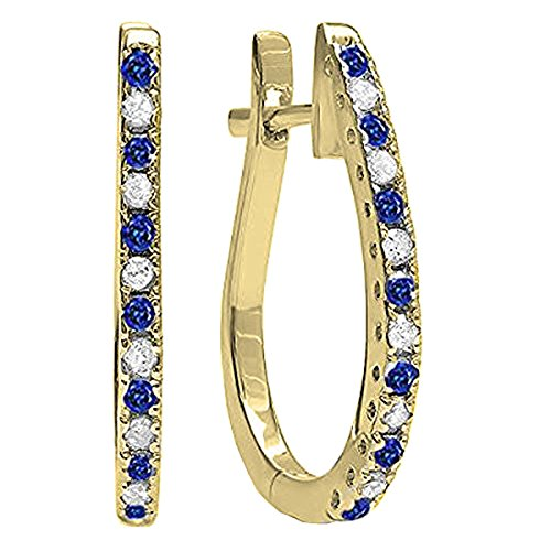 14K Yellow Gold Round Blue Sapphire & White Diamond Ladies Hoop Earrings 14k Yellow Gold Sapphire Hoop Earrings