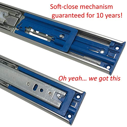 10 Pack of 20'' Soft Close Ball Bearing Drawer Slides - (12'' - 24'' Lengths Too) - 100 lb.Capacity - Side Mount Glides w/Screws by Desunia (Image #3)