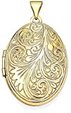 ICE CARATS 14k Yellow Gold Scroll Oval Photo Pendant Charm Locket Chain Necklace That Holds Pictures Fine Jewelry Gift Set For Women Heart