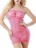 evababy tight fishnet mini-dress lingerie one size full bodysuit chemise babydoll for women (rose)