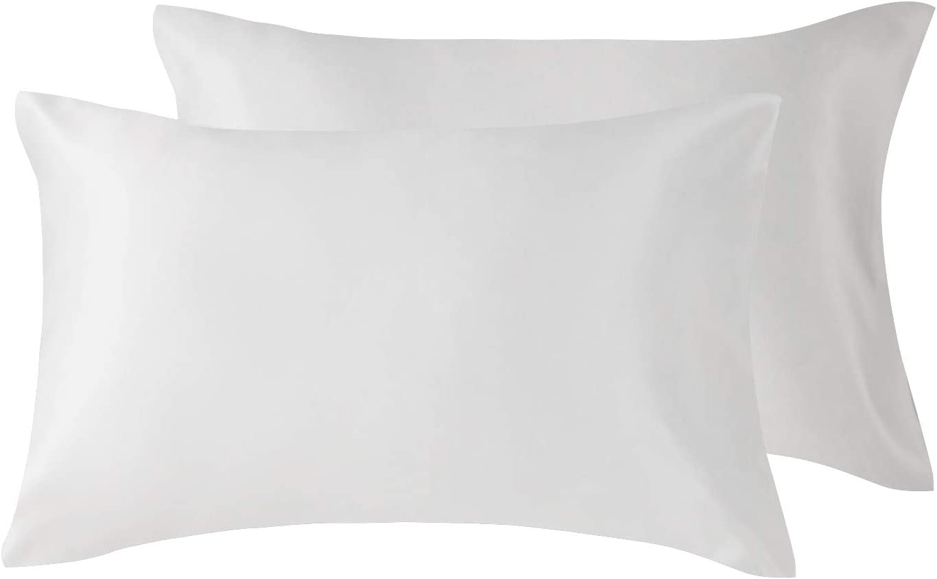 Love's cabin Silk Satin Pillowcase for Hair and Skin (Bleaching White, 20x26 inches) Slip Pillow Cases Standard Size Set of 2 - Satin Cooling Pillow Covers with Envelope Closure
