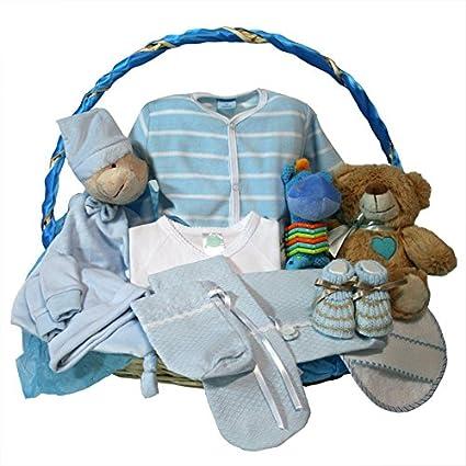 Canastilla bebe recien nacido - Esencial Optima azul- Cesta regalo ...